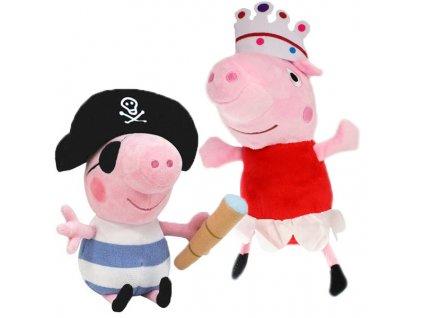 Prasátko Peppa plyšová sada Peppa Princezna a Tom Pirát 25cm