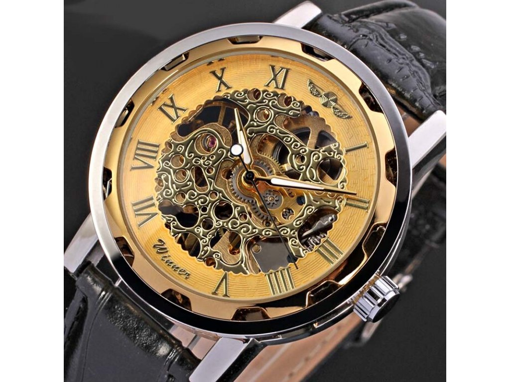 Relogios masculino De Ouro Winner Brand Gold Skeleton Mechanical Watches  Men Steampunk Hollow Clock leather Wristwatch 66f262c52b8
