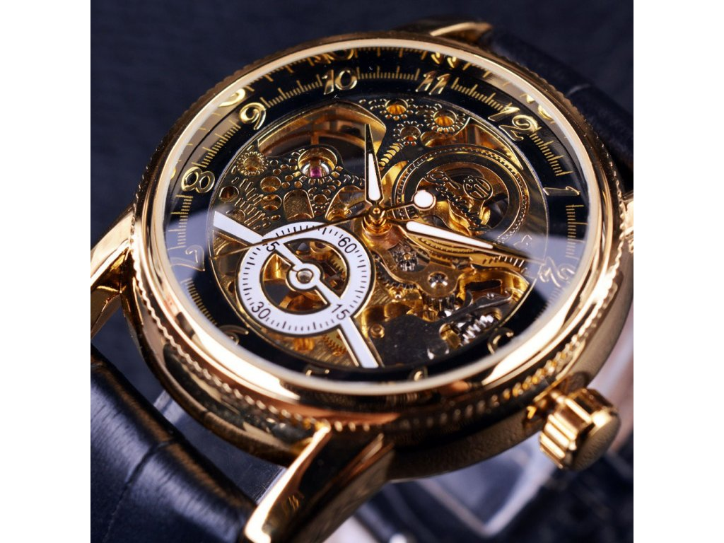 2016 Forsining Hollow Engraving Skeleton Casual Designer Black Golden Case Gear Bezel Watches Men Luxury Brand (3)