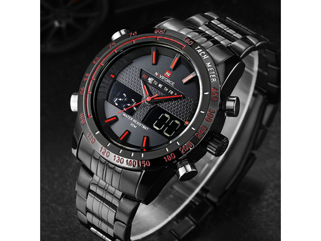 Watches men NAVIFORCE 9024 luxury brand Full Steel Quartz Clock Digital LED  Watch Army Military Sport 351e3393c8
