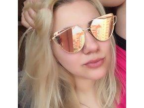 2017 New Женщин Cat Eye Солнцезащитные Очки Мода Женщины Марка Дизайнер Двойной Балки Покрытия Зеркало Солнцезащитные