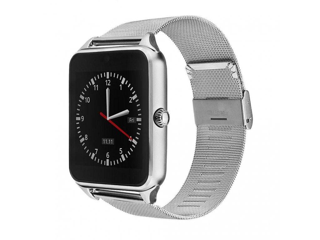 Chytré bluetooth hodinky (smart watch) s kovovým páskem - Stříbrná ... 487cc477b97