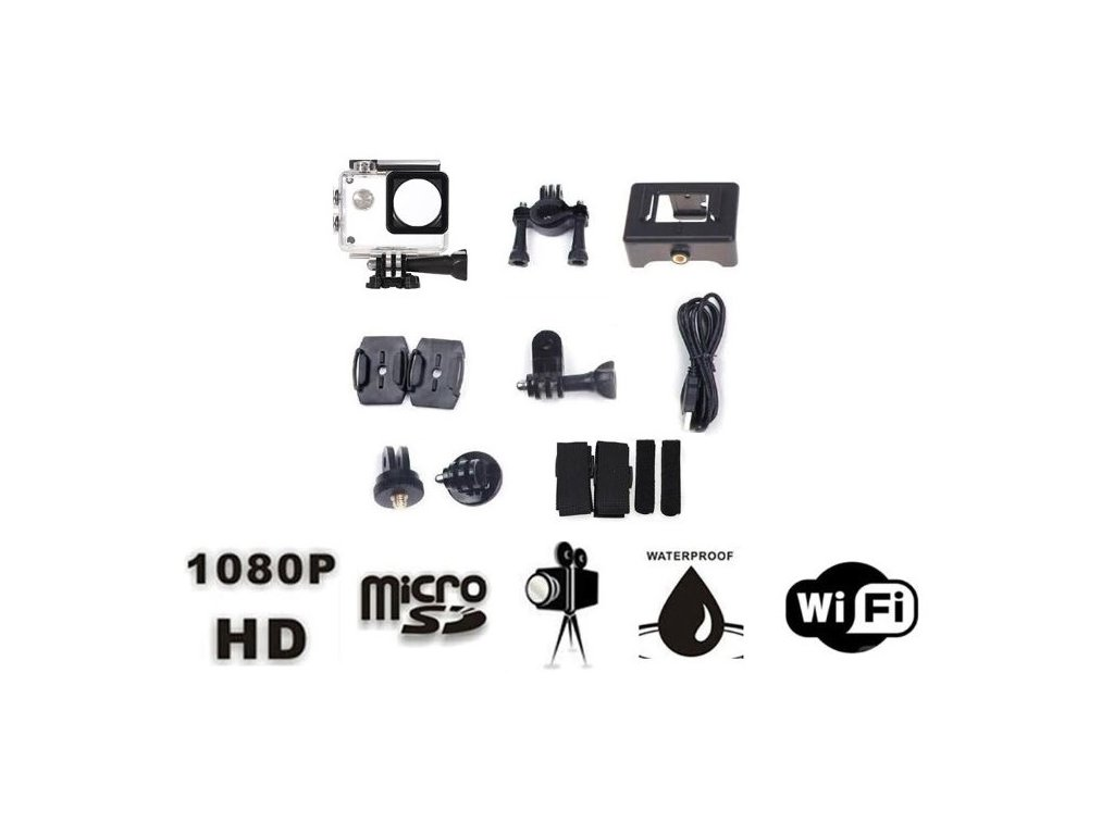 Sportovní 4K Ultra HD kamera Wifi , 16MP s pouzdrem