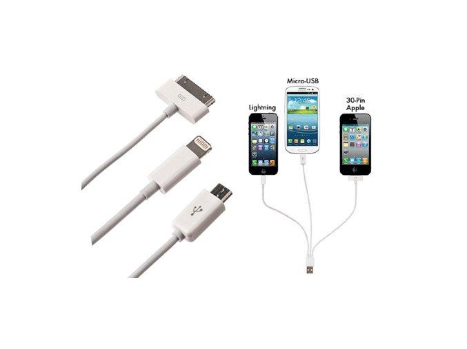 Univerzální USB kabel 3v1 iPhone, iPad, Euro, do auta/zásuvky
