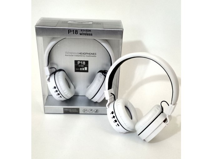Bluetooth sluchátka P18 - Bílá