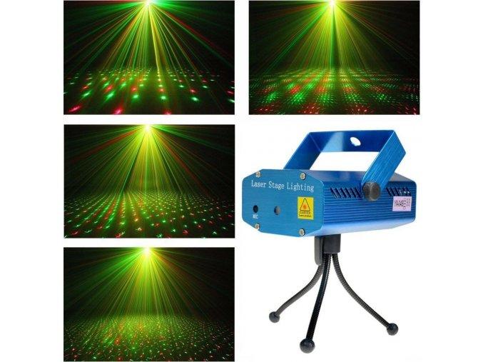 Disco laser - mini laserový projektor světlo (zelený + červený)