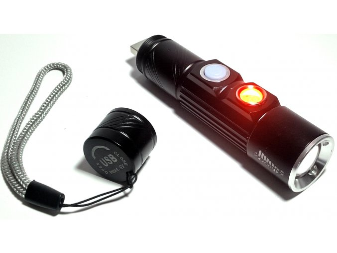 Mini, svítilna s USB nabíjením se zoom a výstražným svitem