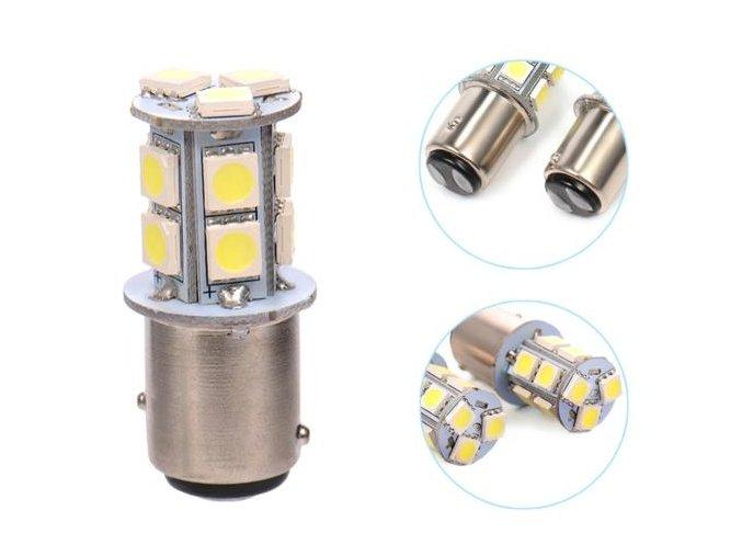 Dvě dvouokruhové 12V autožárovky LED, svit bílá, 3,5W s paticí BAY15d LED SD9057 Bay15d