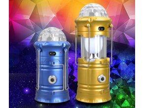 Nabíjecí, výsuvná kempingová lampa s disco koulí