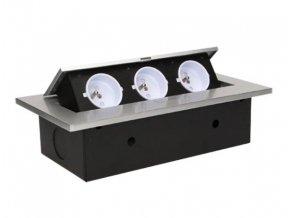 Vestavná, výklopná zásuvková skříňka - stříbrná