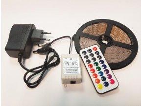 5m barevný LED pásek s regulátorem, napáječem a dálkovým ovládačem  LED KNM 5M-RGB-IR