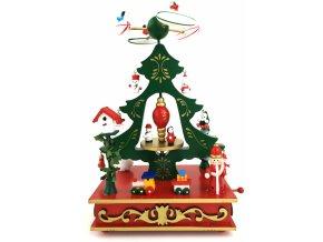 Vánoční dekorace hrající a pohyblivý kolotoč s letadly 28 cm