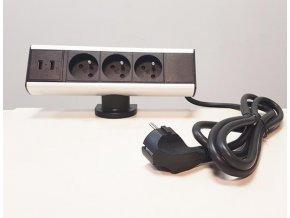 Zásuvková skříň s úchytem na kraj stolu, 3x zásuvky 230V, 2x5V USB, 1,8m nap.kabel ORNO AE 13101