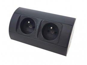 Rohová zásuvková skříň - 2 zásuvky, černá barva ORNO AE 1303 B černá