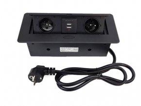 Vestavný, zásuvkový, vyklápěcí modul - 2x zásuvka 230V a 2x zásuvka USB, černá barva ORNO AE 13126B černý