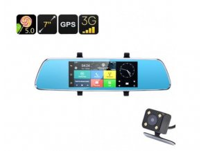 Duální kamera do auta v zrcátku s velkým 7 palcovým dotykovým displejem,WIFI, GPS LURECOM CAR CAM V200
