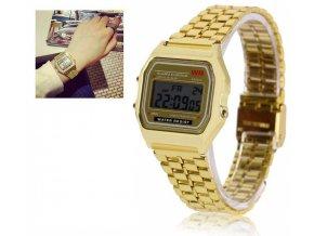 Digitální hodinky WR - zlatá