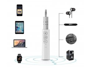 Bezdrátový bluetooth/AUX MP3 přehrávač s 3,5mm jack - bílá