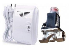 Detektor úniku plynů 12V se sirénkou a elektrický uzavírací ventil