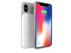 Silikonové pouzdro s baterií power bank 3200 MAH pro iPhone X / XS- bílá