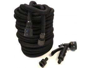 Smršťovací zahradní hadice s profi pláštěm 15 m - černá