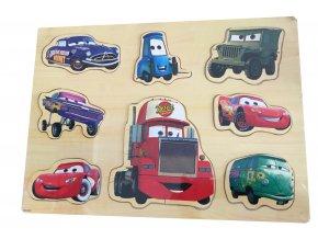 Dřevěná skládací sada postaviček z filmu Cars pro děti