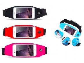 Sportovní fitness pouzdro na mobil kolem pasu ČERNÁ