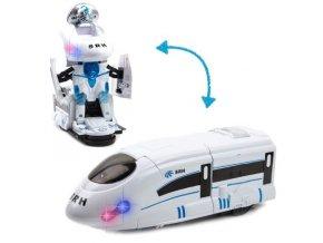 Transformer robot/vlak warrior 2v1 se světelnými a zvukovými efekty