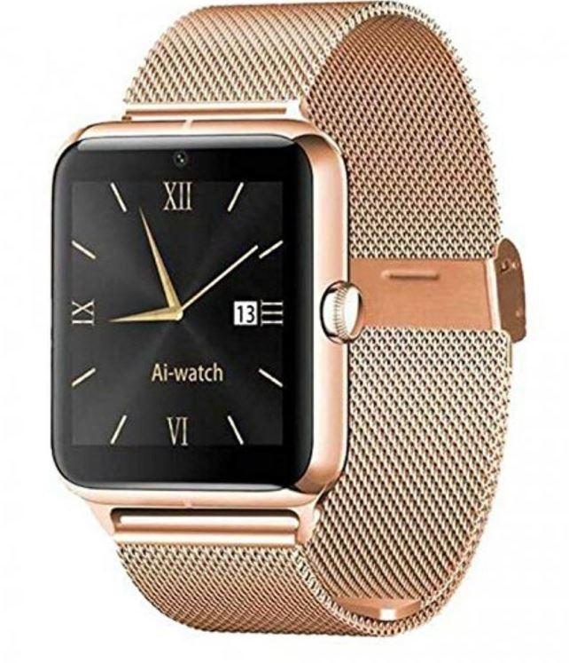 Bls Chytré bluetooth hodinky (smart watch) s kovovým páskem - Zlatá