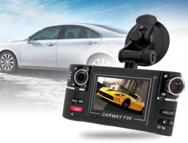 Lurecom Duální kamera do auta, dvě otočné kamery o 180° s FullHD rozlišením, G-senzor a detekce pohy