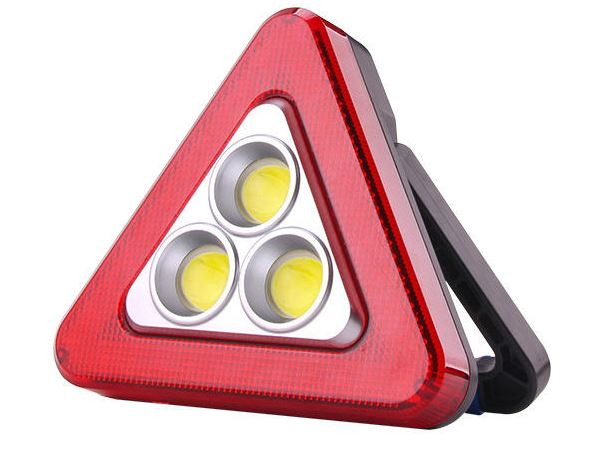 Bst Výstražní solární LED reflektor, trojúhelník se stojanem 19 x 17 cm
