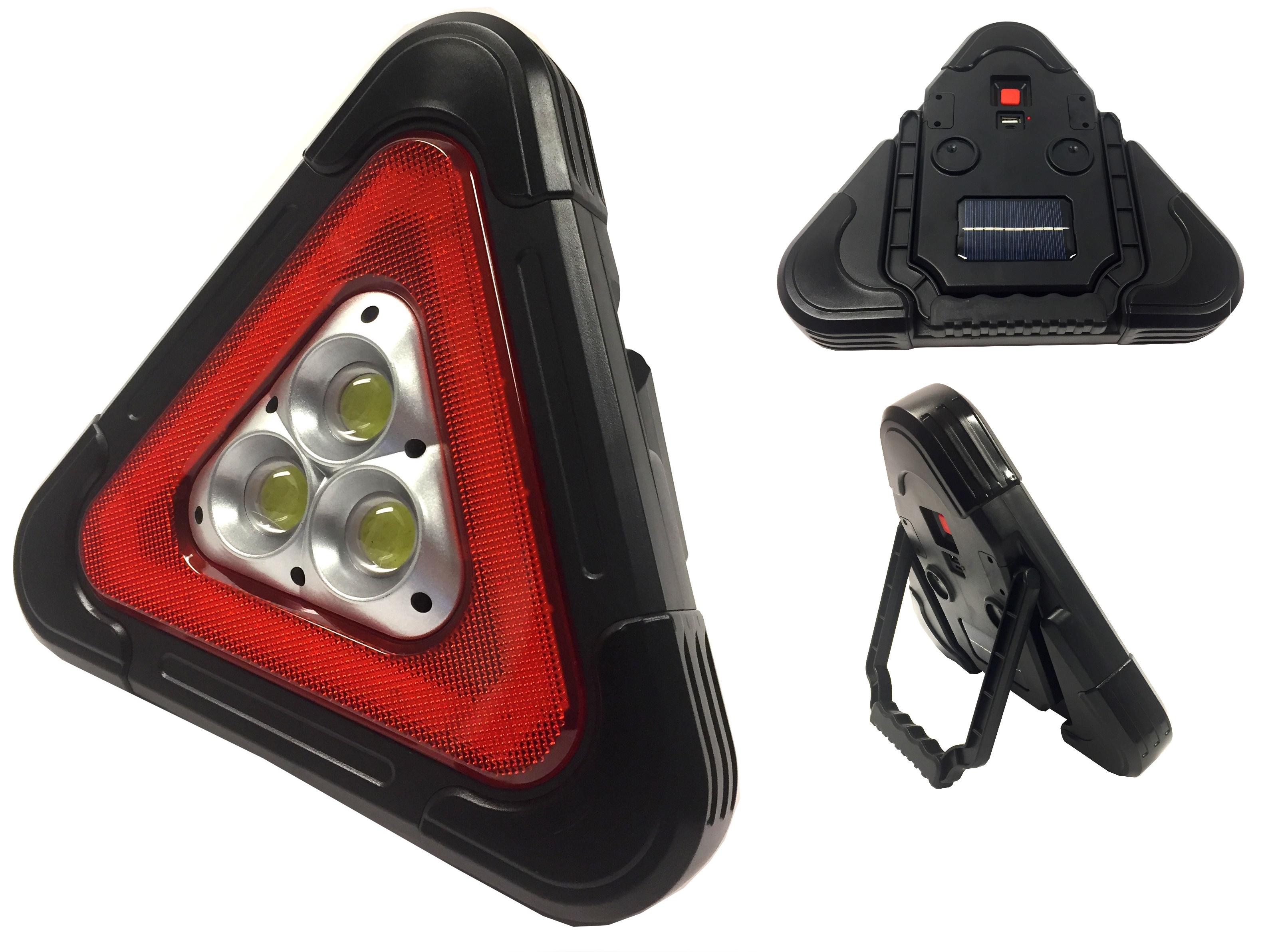 Bst Výstražní solární LED reflektor, trojúhelník se stojanem 27 x 24,5 cm
