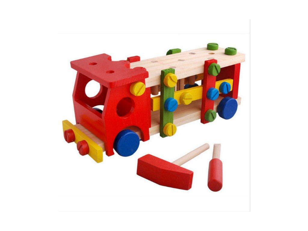 Dětské dřevěné zatloukací autíčko s kladívkem a šroubovákem