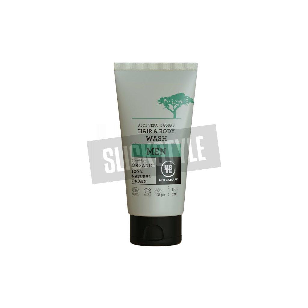 urtekram mens 2in1 baobab aloe shower gel shampoo 150 ml
