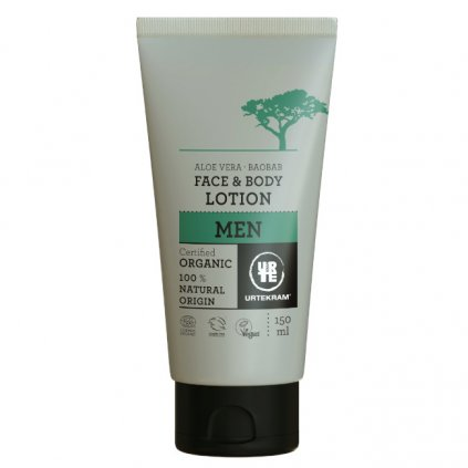 urtekram mens 2in1 baobab aloe face body lotion 150 ml