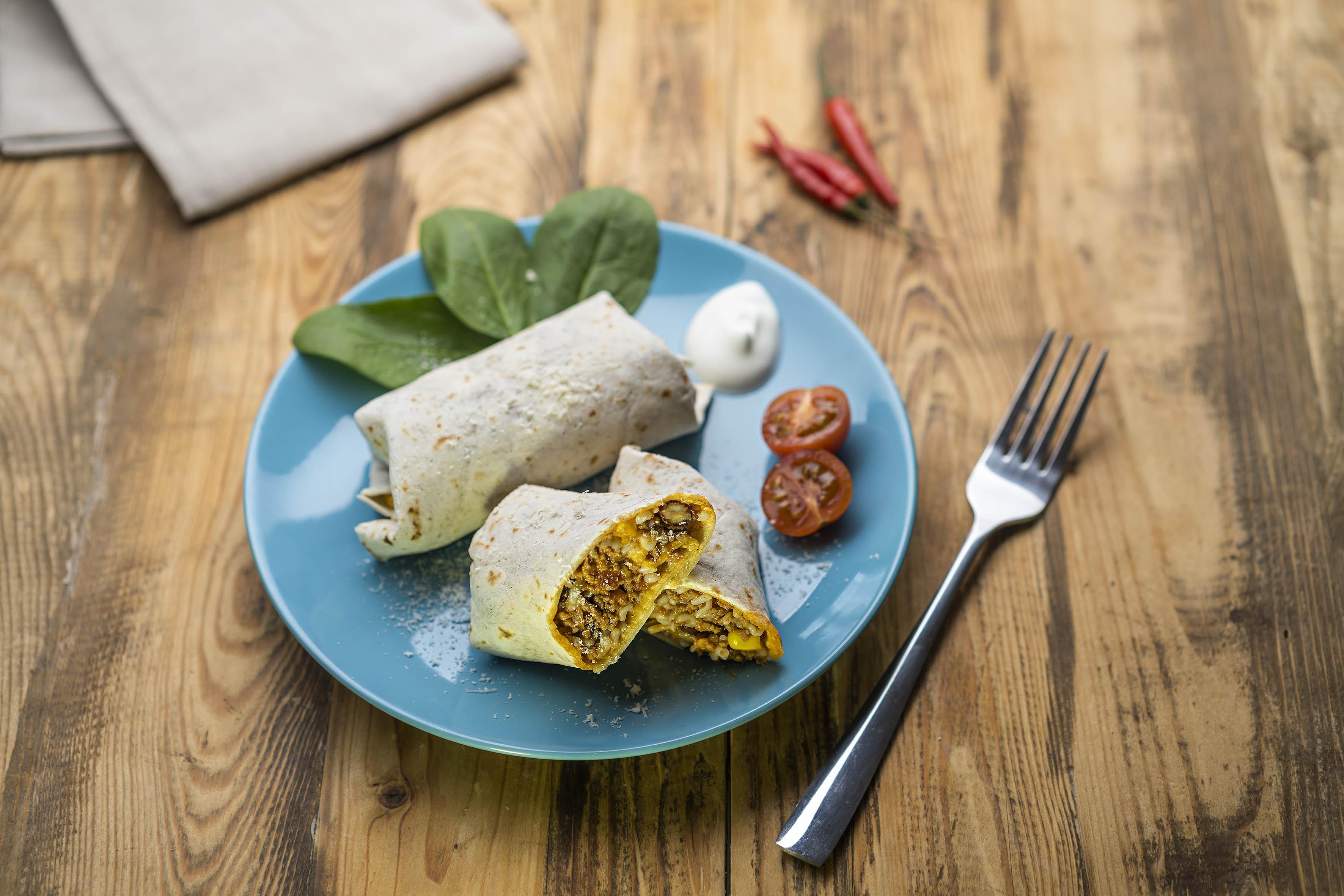 Mexické burrito s hovězím masem a nízkokalorickou rýží