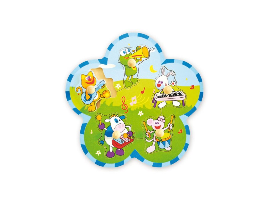 1780 detske drevene puzzle s uchytmi baby mix zvieratka s nastrojmi