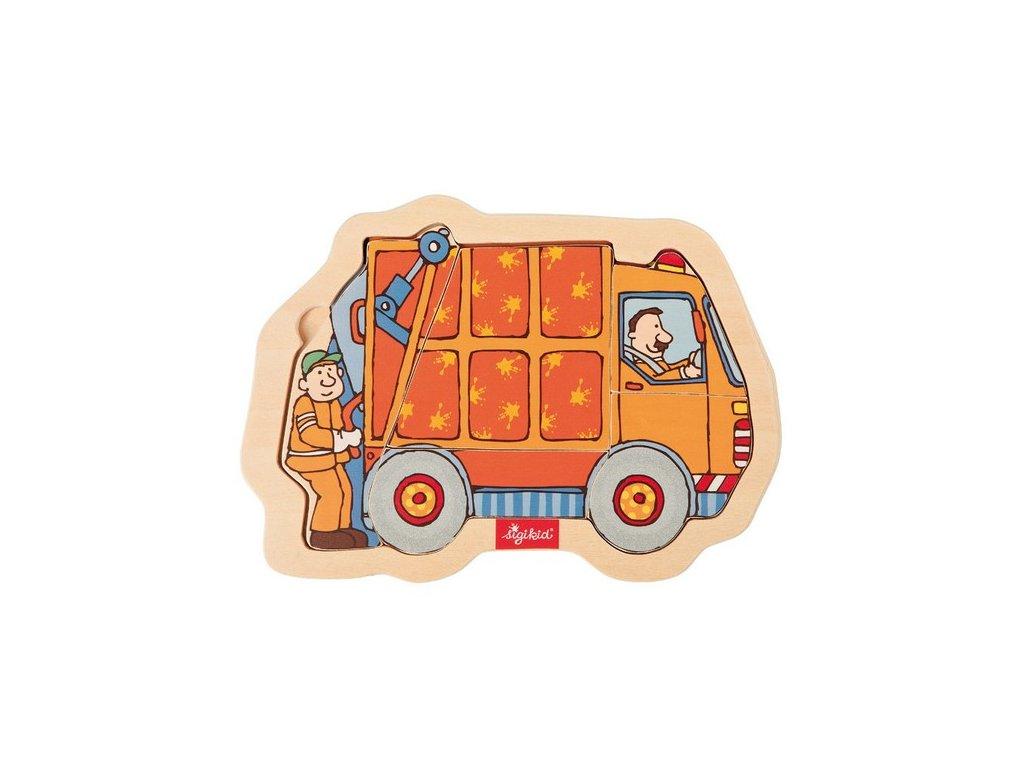 2002 sigikid puzzle vkladacie drevene smetiarske auto