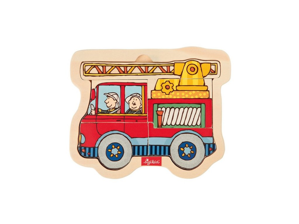 2008 sigikid puzzle vkladacie drevene hasicske auto