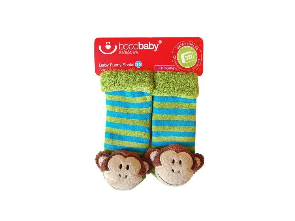 2512 ponozky kojenecke s hrkalkou opicka