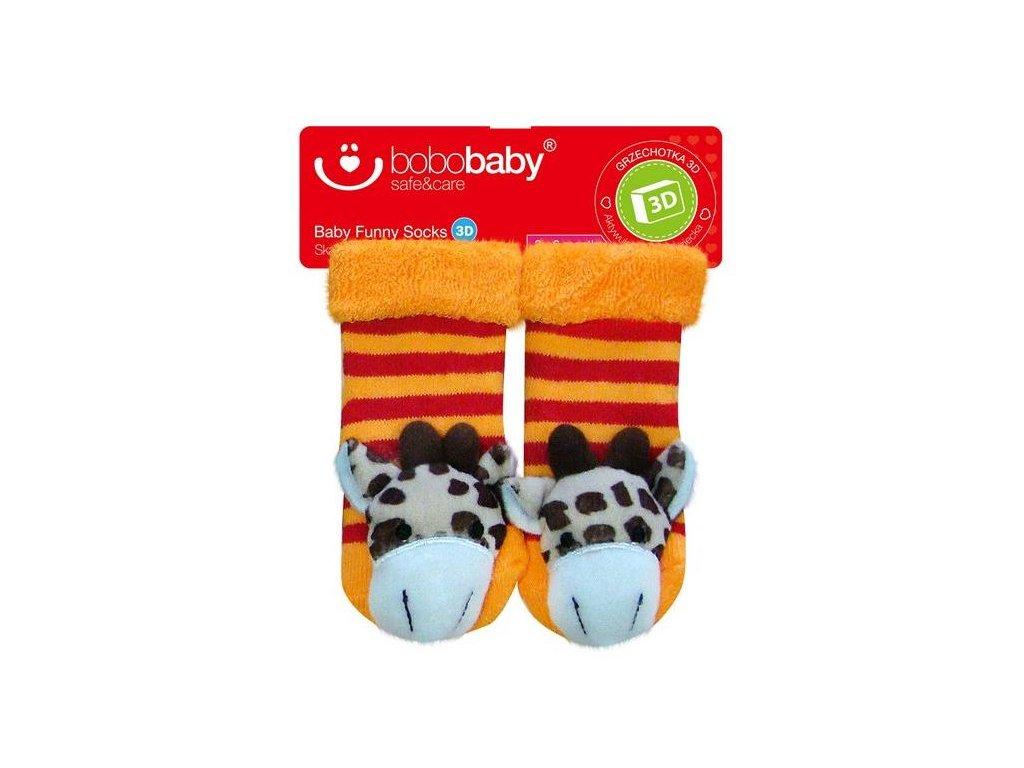 2518 ponozky kojenecke s hrkalkou bobo baby zirafa