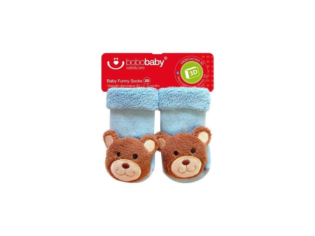 2581 kojenecke ponozky s hrkalkou bobo baby modre s medvedikom