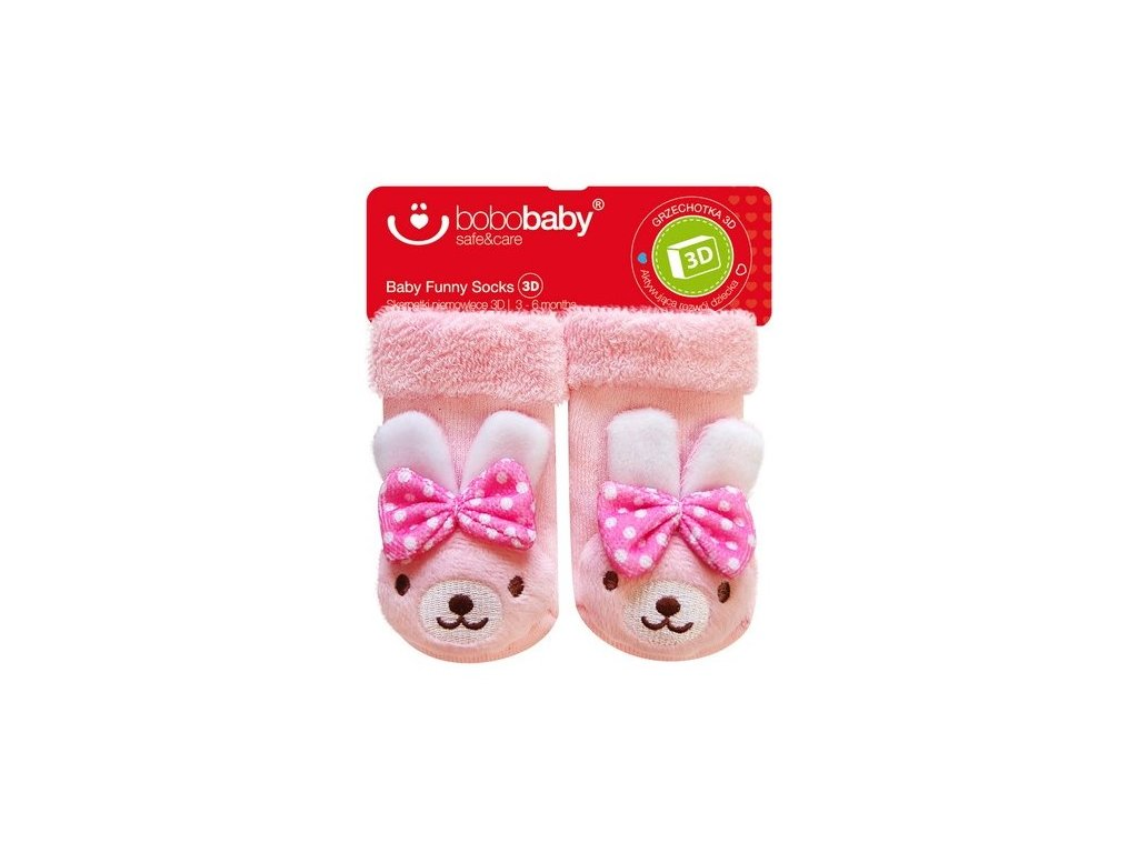 2584 kojenecke ponozky s hrkalkou bobo baby bielo ruzove so zajacikom