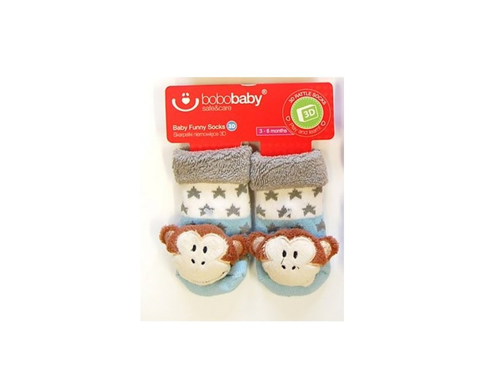 2590 kojenecke ponozky s hrkalkou bobo baby sedo modre s opickou