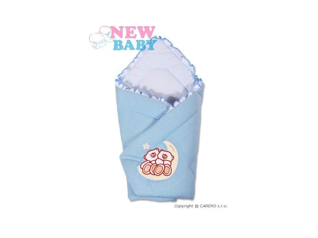 2608 zavinovacka new baby medvedici na mesiaciku modra