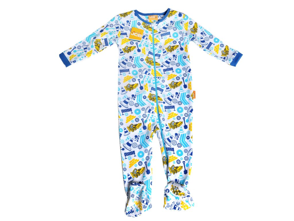 JCB pyžamko - Baby Boy Zip All-in-one Busy Building Site