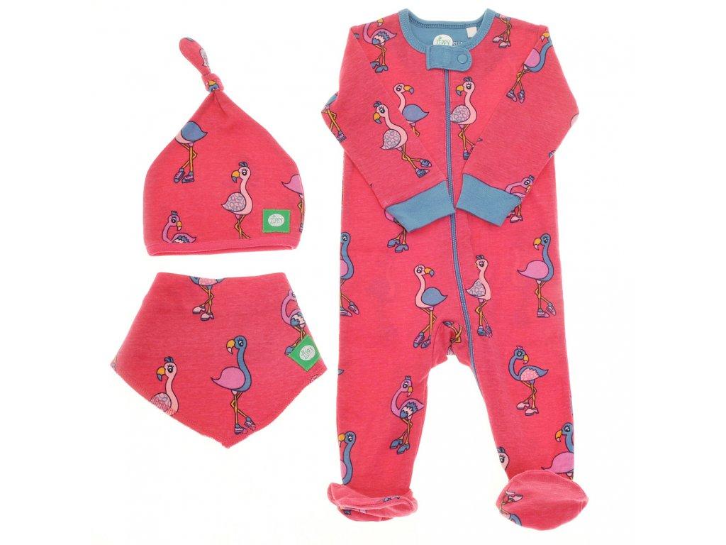 Zippy detske pyzamko čiapka podbradník slintáčik šatka ružové plameniaky