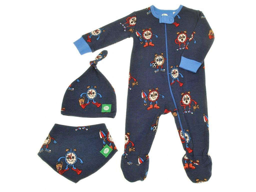 Zippy detske pyzamko čiapka podbradník slintáčik šatka modré budíky