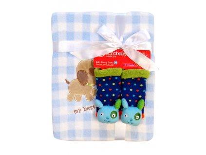 Detská deka z mikrovlákna s ponožkami Bobo Baby modrá (Motív Varianta B)