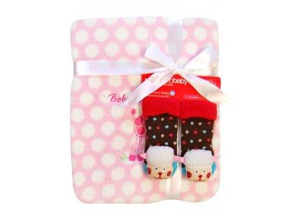 2239 detska deka z mikrovlakna s ponozkami bobo baby ruzova